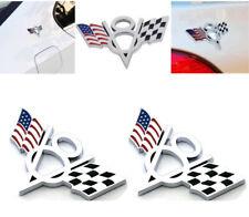 2x V8 US Logo USA Flag Car  Chrome Trunk Metal Emblem Badge Decal Sticker