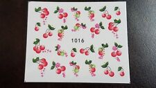 Nail Art Water Transfer Decal Stickers Red Cherries and Pink Flowers 1016