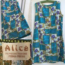 Vintage Alice POLYNESIAN FASHIONS Perma-Press Dress Floral Hawaiian