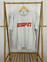 VTG ESPN Classic Logo Short Sleeve Heather Gray Jerzees T-Shirt Size XL USA