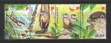 SINGAPORE 2011 ENDANGERED ANIMALS ORIENTAL SMALL CLAWED OTTER SET 4 STAMPS MINT