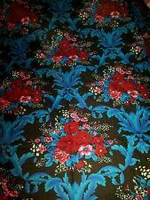 Beautiful blue black red floral 100% cotton bed sheet with 2 pillowcases