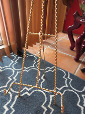 """Mid Century 15-14"""" Wire Easel Display Stand - Twisted Brass Metal"""