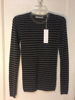 VINCE  PULLOVER THIN CASHMERE STRIPED SWEATER NEW SIZE S $265.00