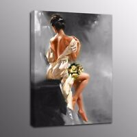 Oil Painting Art Picture Girl Backless Poster Wall Art Home Decor Canvas Prints