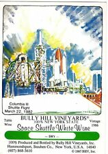 Vintage 1988 Space Shuttle Wine Postcard Bully Hill Taylor Visionary Art NOS