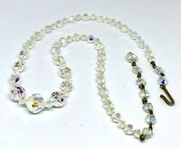 Vintage Graduated Faceted Crystal Necklace Hook Clasp with 2 1/2 Extender