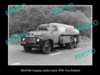 OLD 8x6 HISTORIC PHOTO OF SHELL OIL COMPANY FUEL TANKER c1950 NEW ZEALAND