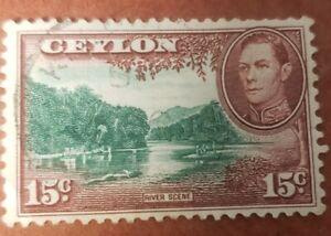 GM118 Ceylon KGVI 15 CENT 1938 River Scene USED STAMP
