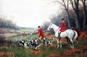 """Calling up the Hounds Fox Hunting Canvas PICTURE CANVAS WALL ART 20""""X30"""""""