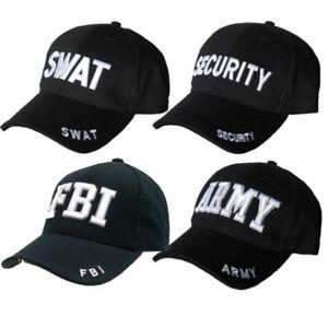 MENS BLACK FASHION CAP ARMY FBI SECURITY SWAT FANCY DRESS DOORMAN BASEBALL HAT