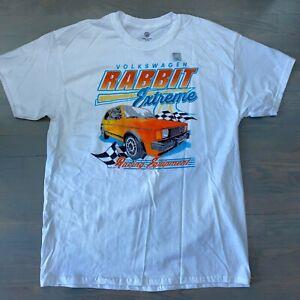 Volkswagen VW Rabbit Extreme Racing Equipment White T-Shirt Tee Men's Sz Large