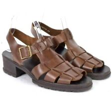 Vintage 1990s Brown Leather Fisherman Sandals Woven Belted Open Toe Womens 9 M