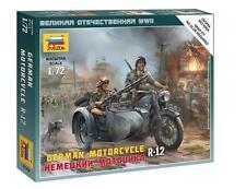 Zvezda  1:72   German R12 Motorcycle w/Sidecar & 2 Crew (Snap)  ZVE6142