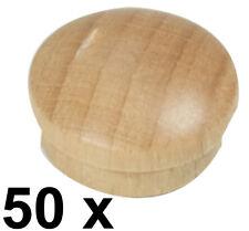 50 x Abdeckkappe Kappe aus Buchenholz lackiert Stift 14,5/15,3  Kopf 19,3 mm