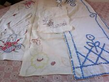 VINTAGE 4 pc lot floral embroidered hob nail cotton table runners13x44 15x44 16x
