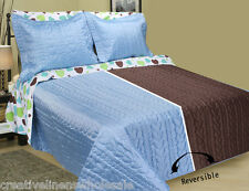 Hearts Bed in Bag Bedding Set Blue Chocolate Reversible Comforter Twin, Full Set