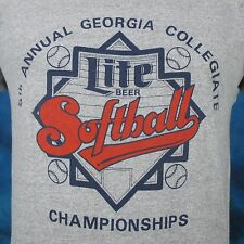 vintage 80s MILLER LITE BEER GEORGIA SOFTBALL HEATHER T-Shirt SMALL mgd thin