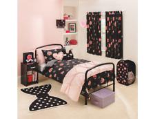 GIRLS FLOWER BEDDING SET ROSE PRINT ROSES PINK BLACK FLORAL FLOWERS DUVET COVER
