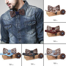 Mens 4Pcs Plaid Bowtie Wooden Hollow Carved Butterfly Cufflinks Handkerchief Set