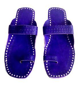 Kolhapuri mens slippers blue leather sandals vintage flip flops mens footwears