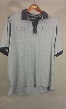 Sean John Size 3XL Double Button Pocket Chest Blue Heather Casual Polo Shirt