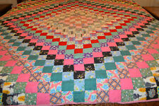 Antique Quilt Around The World Hand Stitched 1900's Over 1000 SQ's Fabulous !