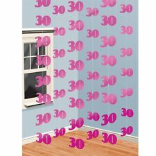 6 x 7ft 30th Pink Birthday/Anniversary Hanging String Banner Party Decorations