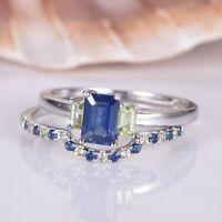 1.6ct Emerald Cut Blue Sapphire Bridal Set Engagement Ring 14k White Gold Finish