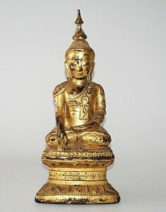 19C Shan State Gilt Lacquer Wooden Nicely Carved Seated Buddha Sculpture (Kas)