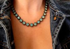 Pacific Opal Bronze Filigree Necklace w/ Swarovski Crystals Art Deco Jewelry