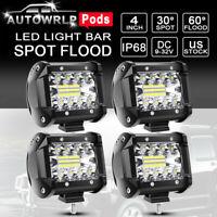 "4x 4"" Cree LED Work Light Bar Flood Spot Pods Offroad Fog Lamp Pickup ATV Truck"