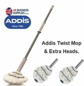 Addis Twist Mop Metallic Grey, Extra Spare Mop Head Option.