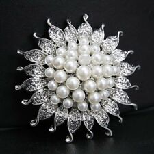 Women Elegant White Gold Plated Pearl Flower Brooch Pin Bouquet Wedding Jewelry