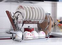 """20.5"""" Stainless Steel Holder 2-Tier Dish Cup Drying Rack Utensil Draining Tray"""