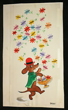 Dog Spreading Cheer Flowers Original Greeting Card Painted Art by Bridget