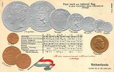 NETHERLANDS SILVER GOLD COINS FLAG TABLE RATE EMBOSSED PATRIOTIC POSTCARD (1910)