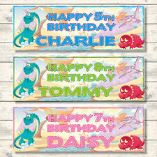 2 PERSONALISED DINOSAUR BIRTHDAY BANNERS 800mm x 297mm - CHOICE OF COLOURS