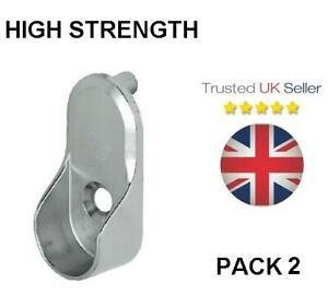 WARDROBE RAIL END SUPPORT BRACKETS METAL SILVER OVAL CLOTHES HANGING POLE HANGER