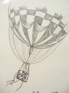 David Bromley Original DRAWING 48x37cm HOT AIR BALLOON Movie Working Drawing