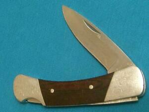 VINTAGE PRE '85 SCRIPT BUCK USA 500 MICARTA LOCKBACK FOLDING HUNTER BOWIE KNIFE