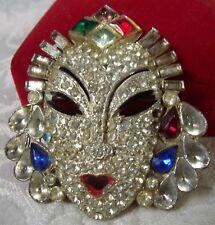 Art Deco RARE Jeweled Rhinestone Theatre Mask Pin Brooch Repair POt Metal Superb