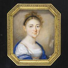 detailreiches Miniatur-Portrait datiert 1819, junge Dame, ca. 90 x 73 mm