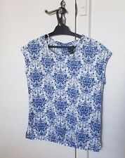 MANGO collection greece baroque blue and white blouse top S 6