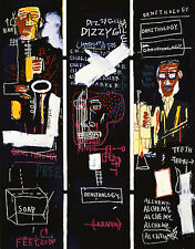 QUADRO STAMPA SU TELA JEAN MICHEL BASQUIAT HORN PLAYERS 60x46 POP ART