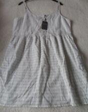 EX Fat Face Sally White Mix Stripe Cotton Mid Length Strappy Sun Dress 14 18 14