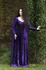 New Purple Gothic Medieval Long Velvet Belted Robe Dress Gown size 3XL 14 16 18