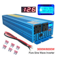 3000W/6000W Pure Sine Wave Power Inverter DC 12V to AC 230V Caravan Converter