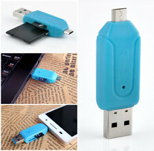 SD T-Flash Memory Card Reader Micro USB + USB 2.0 OTG Adapter Fit Smart Phone PC