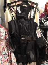 Womens Size 12 Black Satin Corset Set, Thong, Stockings, Belt, New